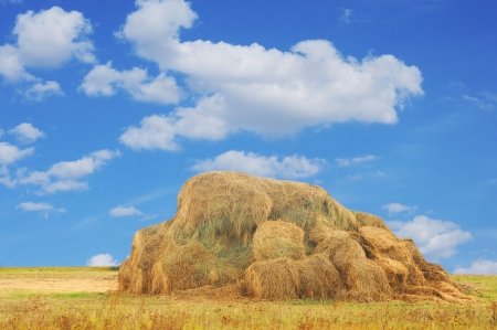 A stack of hay bales in a rural landscape photo