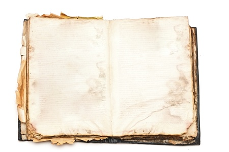 old document: Old book open isolated on white background