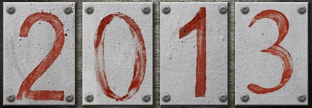 '2013' number on metal background  photo