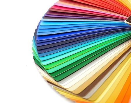 Kleur gids spectrum staal monsters regenboog op witte achtergrond