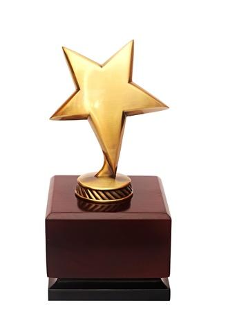 trofeo: premio estrella de oro en el fondo blanco Foto de archivo