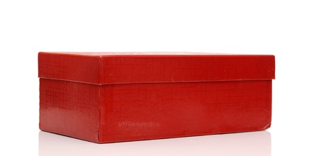 shipped: red package box isolated on white