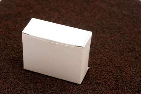 blank white box on black tea background Stock Photo - 15655634