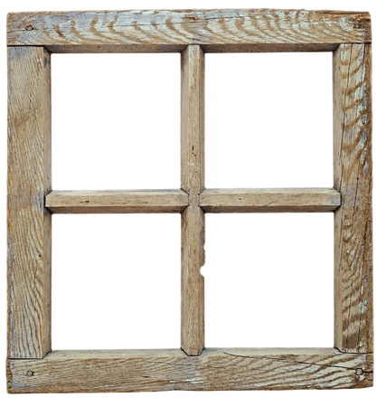 window frame: Very old grunged wooden window frame isolated in white  Stock Photo