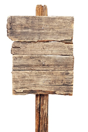 vintage brown wooden signboard against white background Stockfoto