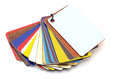 Swatch of plastic samples on a white background  photo