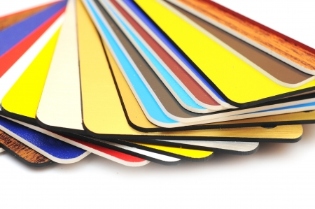 Swatch of plastic samples on a white background