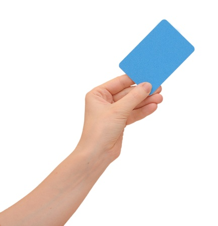 hand holding card: hand holding a business card