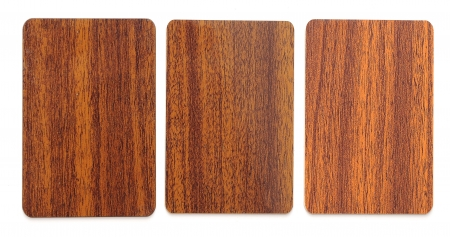 collection of wooden plastic card blanks on white background Stock Photo - 16031838
