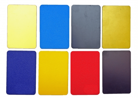 collection of colorful plastic cards on white background photo