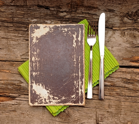 blank paper with knife and fork on old wood background Stock Photo - 16031906