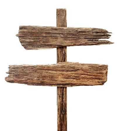 Old weathered wood sign isolated on a white background photo