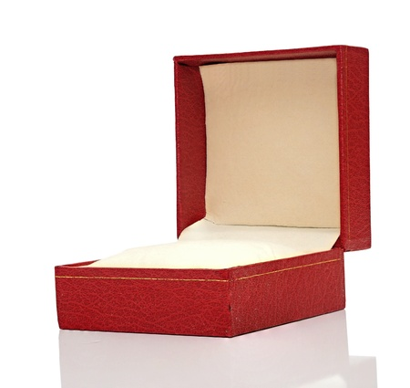 Open red box with reflection on white background.  photo