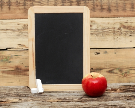 add text: red apple on chalkboard, add text to chalkboard