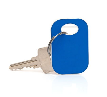Hotel key isolated on white background. photo