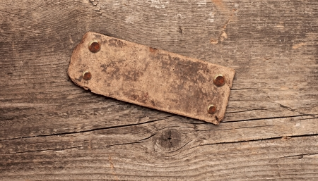 Information old wood signboard on wooden background. With copy space Stock Photo - 16485583