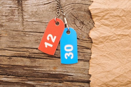 two colorful tags with numbers on vintage background photo