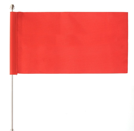 red flag waving on the wind. Isolated over white. Put your own text Stock Photo - 16584581