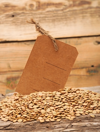 Lentil seeds with blank price tag on a wooden background photo