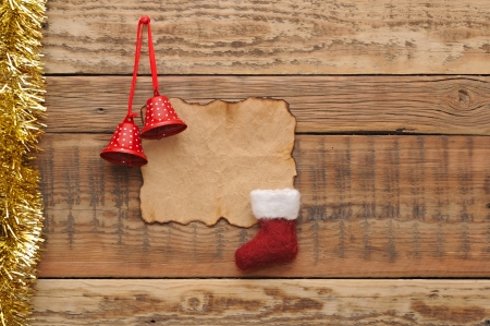 Christmas decoration on the wooden wall Stock Photo - 16801907