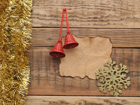 Christmas decoration with blank old paper on the wooden wall Stock Photo - 16801903