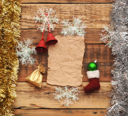 Christmas decoration on the wooden wall photo