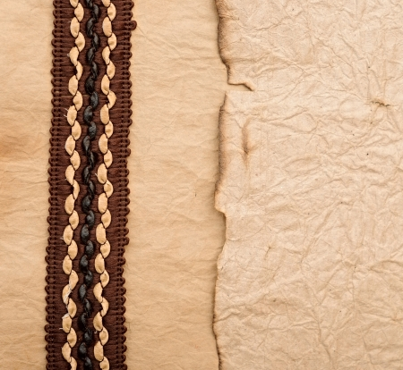old paper background with beautiful ribbon photo