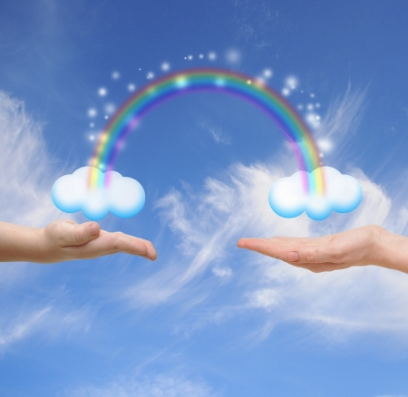 Family concept. Hands of the child and mother touching a cloud with a rainbow against a blue sky  photo