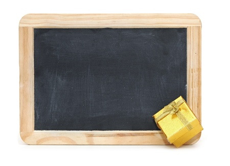 School blackboard with gift box photo