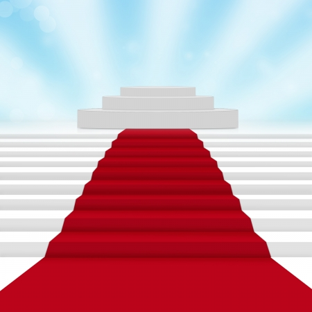 Empty white podium with red carpet photo