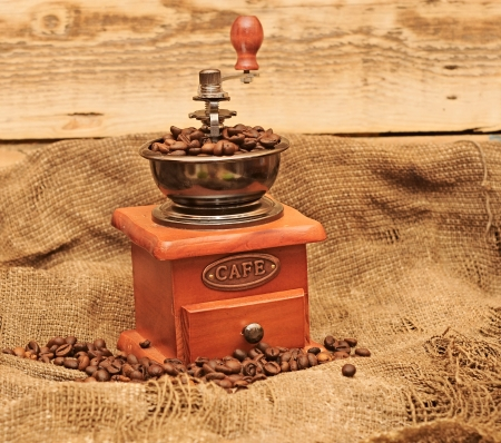 coffee mill with beans photo