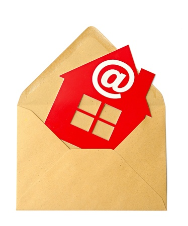 E-Mail and Home Symbol, concept of online Real Estate  photo