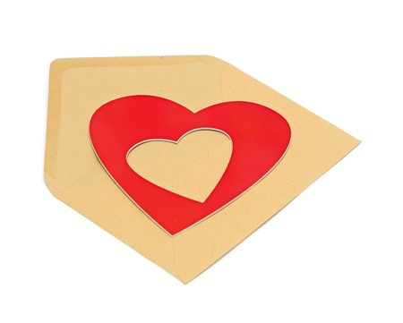 close-up of brown paper envelope with red heart photo