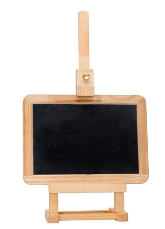Empty small blackboard on a easel isolated on white background.  photo