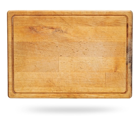 old wooden plate isolated on white  photo