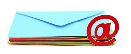 E-mail icon with colorful envelopes on white background. E-mail concept  photo