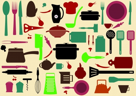 cute kitchen pattern. Illustration of kitchen tools for cooking  Stock Vector - 18025542