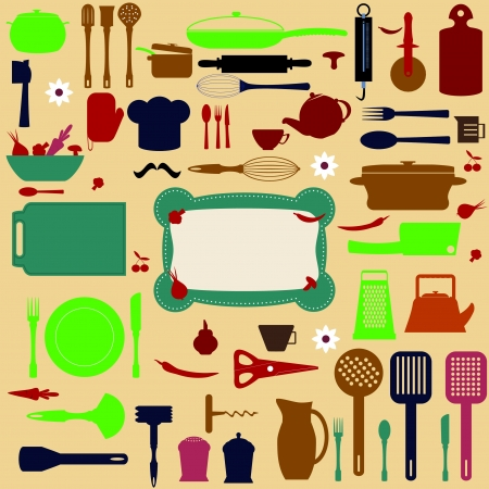 eating utensil: cute kitchen pattern. vector illustration  Illustration