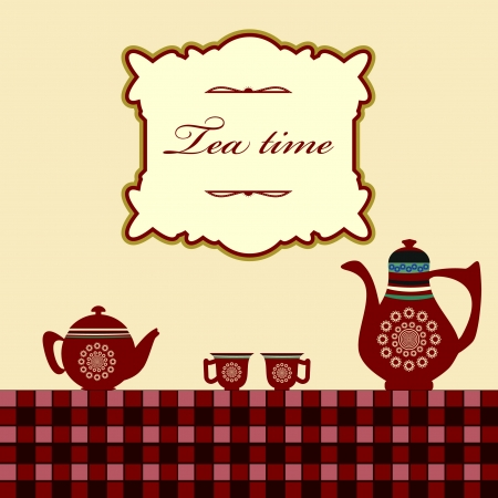 cup: Tea time template Illustration