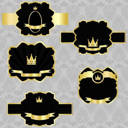 set: black gold-framed labels  Vector