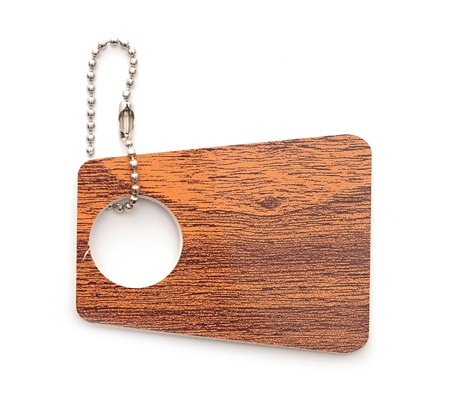 wooden tag isolated on white background  photo