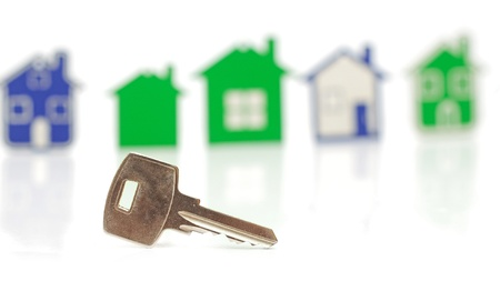 silver key on the houses background  photo