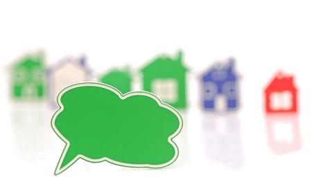blank bubble speech over the houses background photo