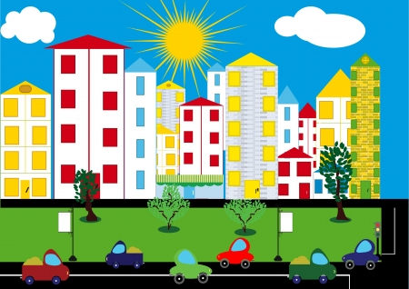 Color city background. Vector Vector