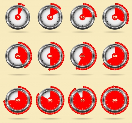 Red vector timers - easy change time every one minute  Stock Vector - 18668621