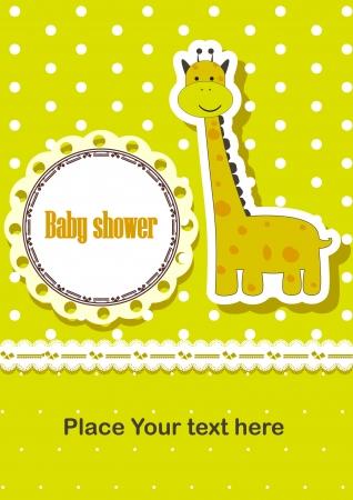 baby shower invitation template  illustration  Cute giraffe Stock Vector - 18781824