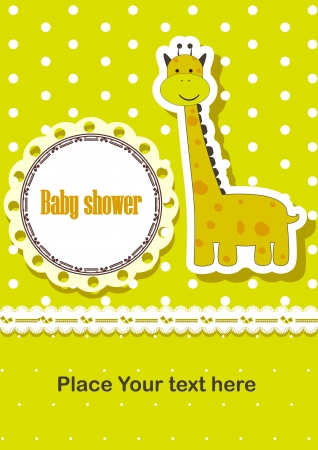 baby shower invitation template  illustration  Cute giraffe