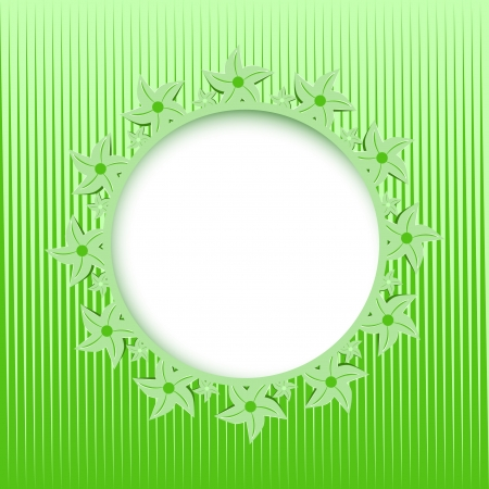 lace round frame on the green background  Vector