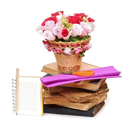 Paper flower in a basket with blank note book Stock Photo - 18967710