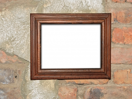 blank photo frame on old brick wall Stock Photo - 19242600